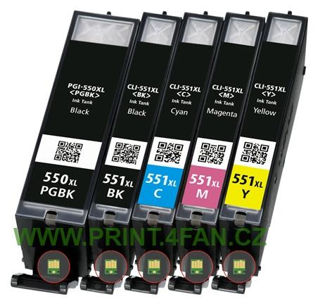 Multipack 5ks Canon CLI-551 / PGI-550 - kompatibilní - včetně čipu