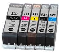 Multipack 5ks Canon CLI-521 / PGI-520 - kompatibilní - včetně čipu